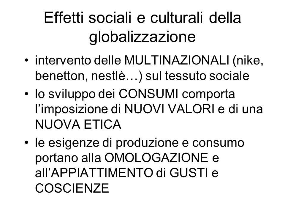 Effetti sociali e culturali della globalizzazione