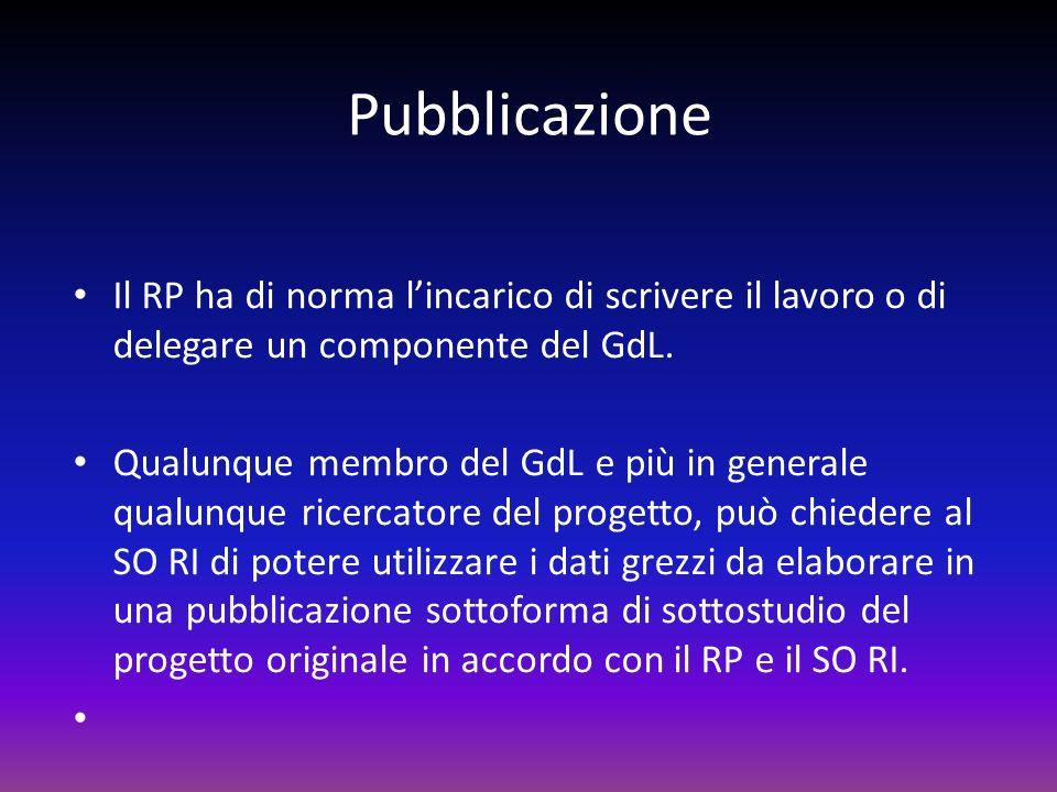 Pubblicazione Il RP ha di norma l'incarico di scrivere il lavoro o di delegare un componente del GdL.
