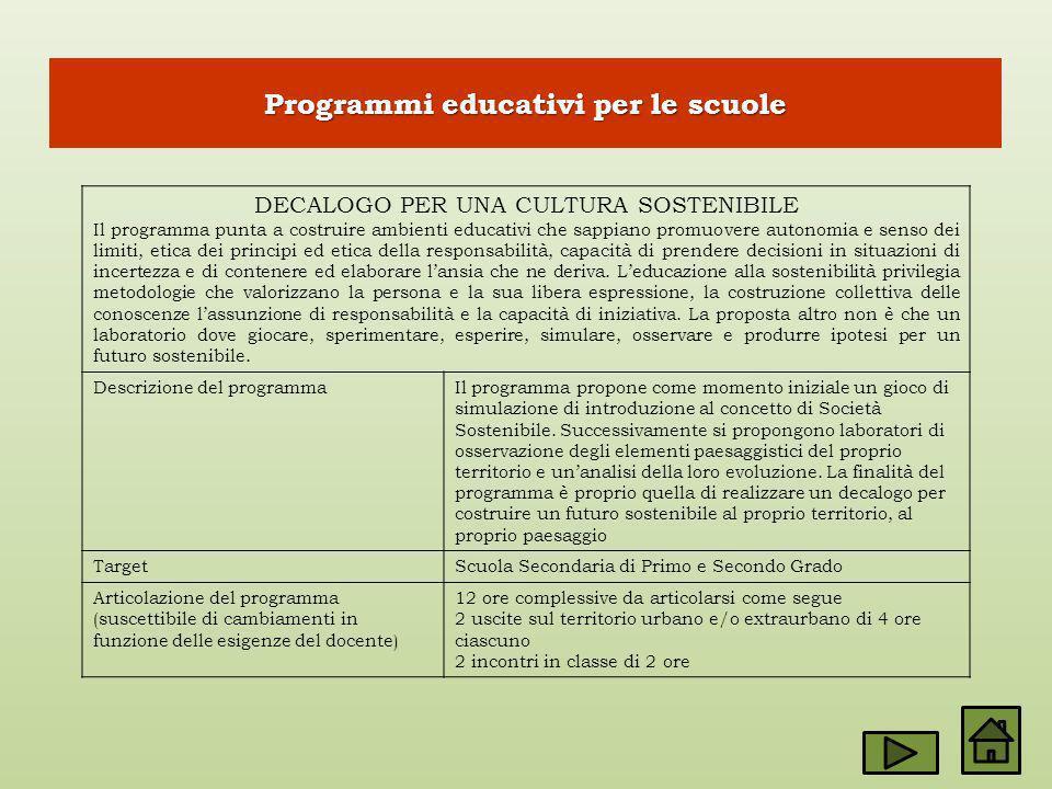 Programmi educativi per le scuole