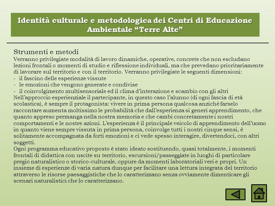Identità culturale e metodologica dei Centri di Educazione Ambientale Terre Alte