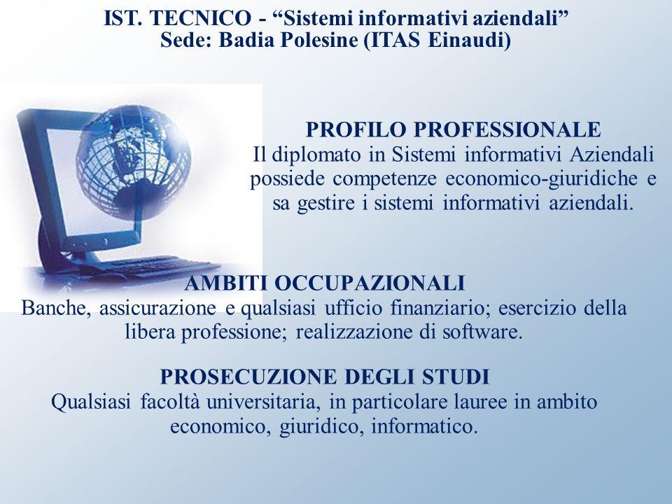 IST. TECNICO - Sistemi informativi aziendali