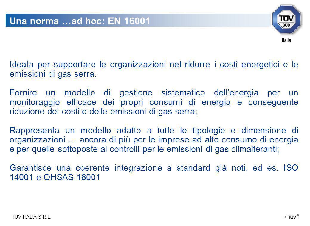 Una norma …ad hoc: EN 16001Ideata per supportare le organizzazioni nel ridurre i costi energetici e le emissioni di gas serra.