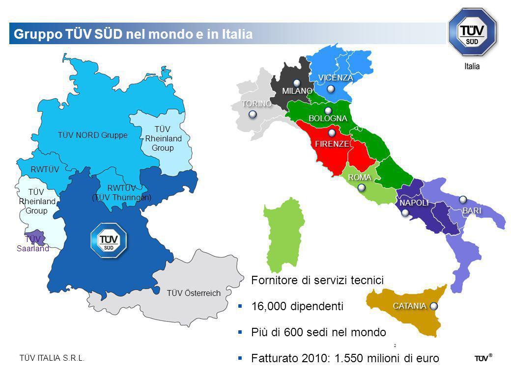 Gruppo TÜV SÜD nel mondo e in Italia