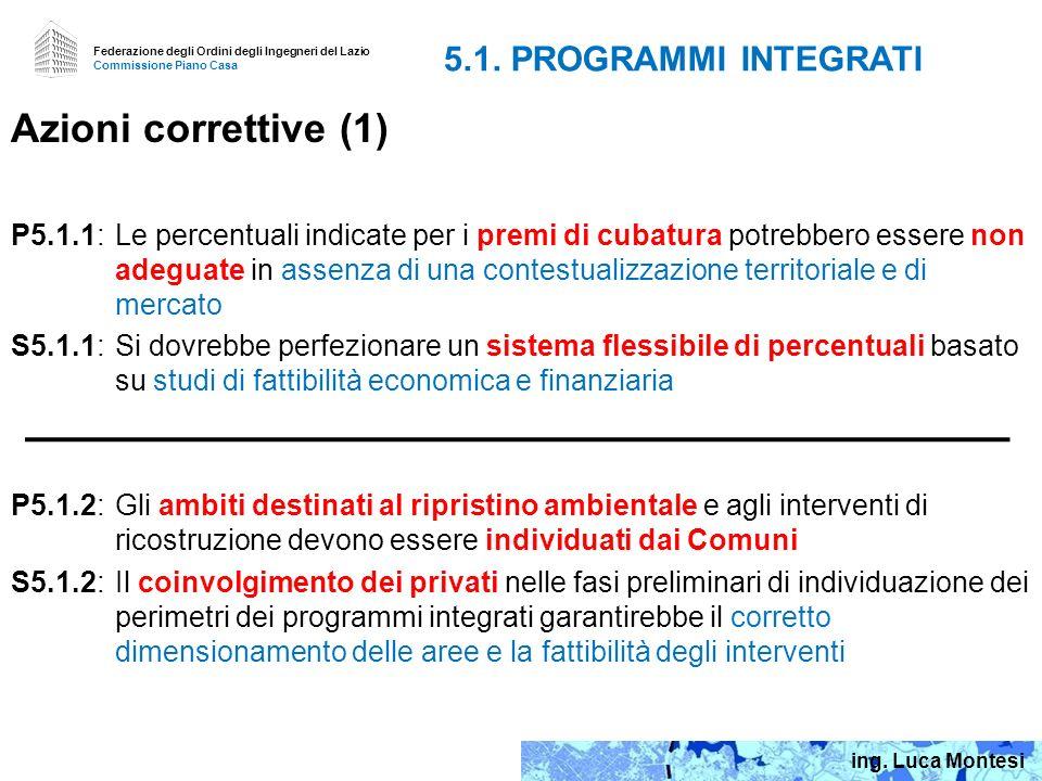 Azioni correttive (1) 5.1. PROGRAMMI INTEGRATI