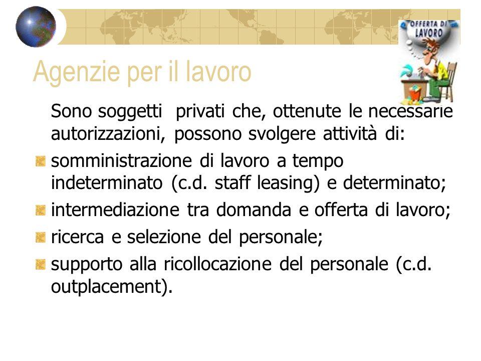 Agenzie per il lavoro Sono soggetti privati che, ottenute le necessarie autorizzazioni, possono svolgere attività di: