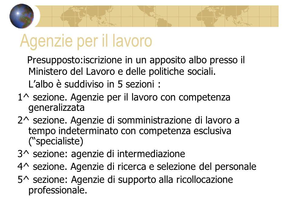 Agenzie per il lavoro Presupposto:iscrizione in un apposito albo presso il Ministero del Lavoro e delle politiche sociali.