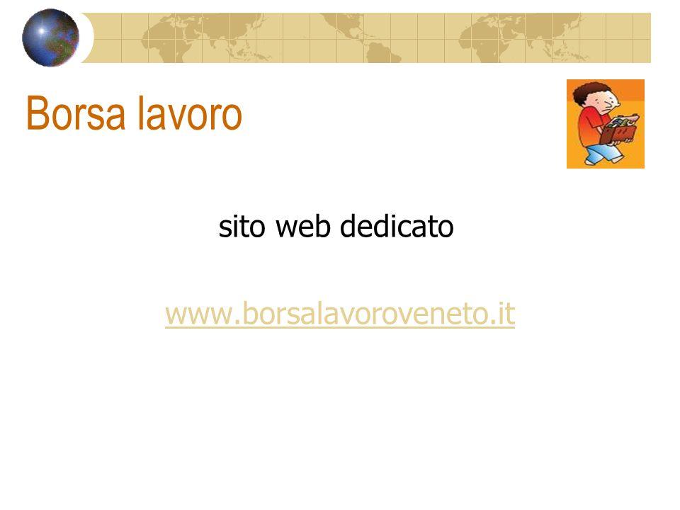 Borsa lavoro sito web dedicato www.borsalavoroveneto.it