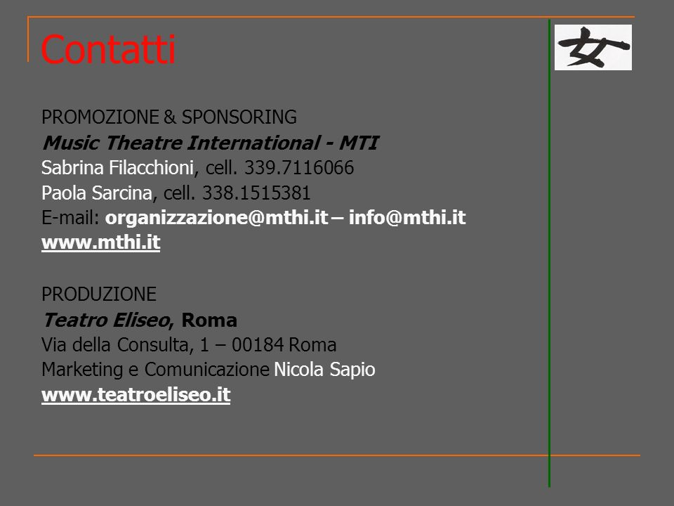 Contatti Music Theatre International - MTI Teatro Eliseo, Roma