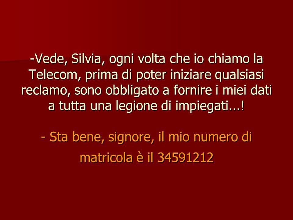 Vede, Silvia, ogni volta che io chiamo la Telecom, prima di poter iniziare qualsiasi reclamo, sono obbligato a fornire i miei dati a tutta una legione di impiegati....