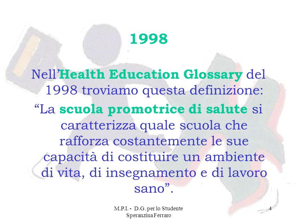 1998 Nell'Health Education Glossary del 1998 troviamo questa definizione: