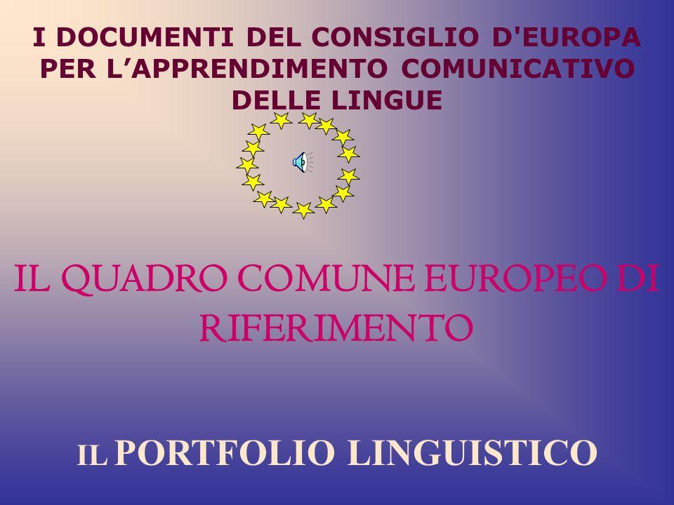 IL QUADRO COMUNE EUROPEO DI RIFERIMENTO IL PORTFOLIO LINGUISTICO