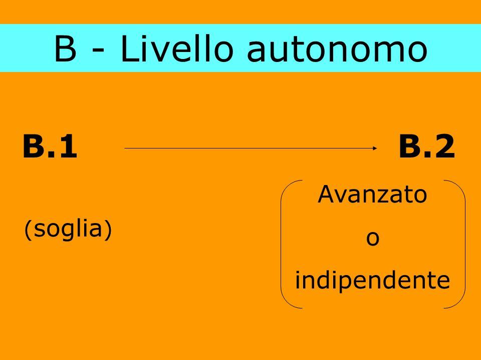 B - Livello autonomo B.1 B.2 (soglia) Avanzato o indipendente