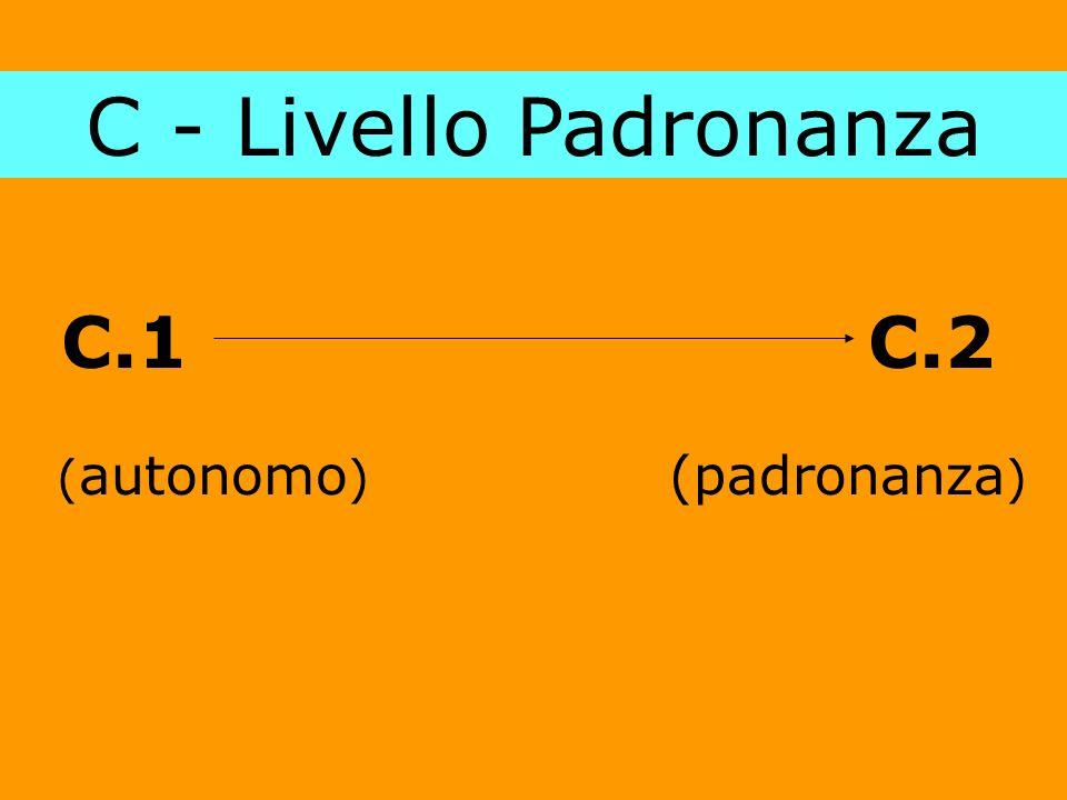 C - Livello Padronanza C.1 C.2 (autonomo) (padronanza)