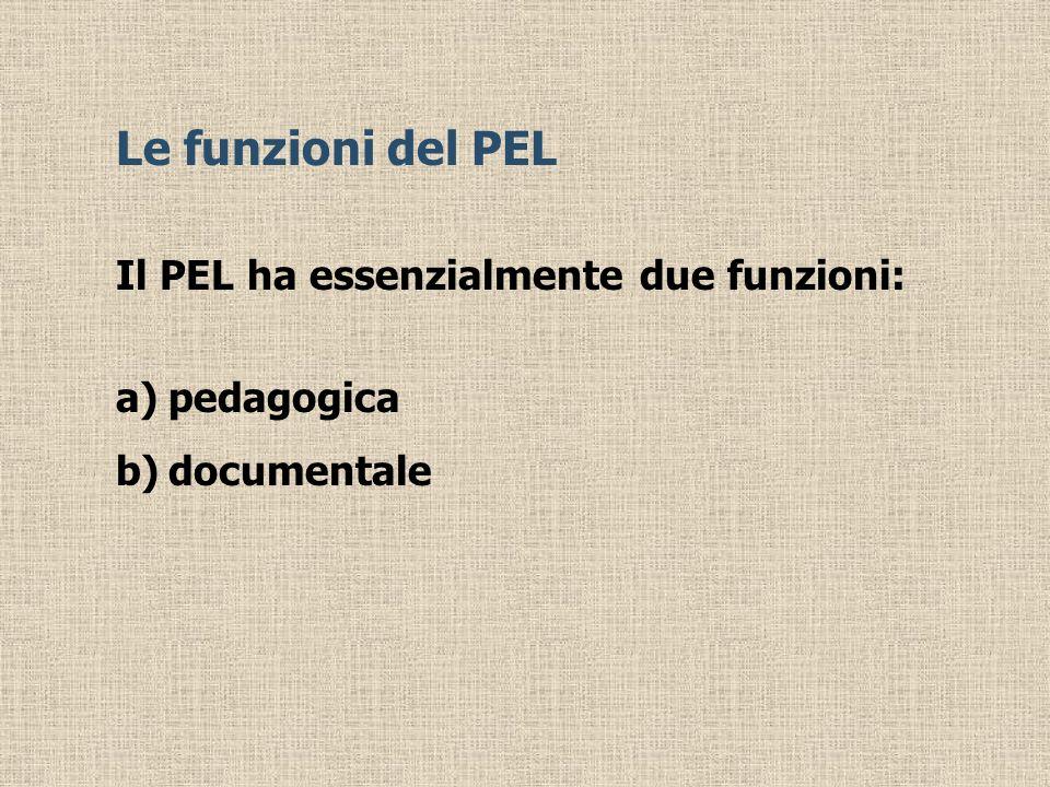 Le funzioni del PEL Il PEL ha essenzialmente due funzioni: pedagogica