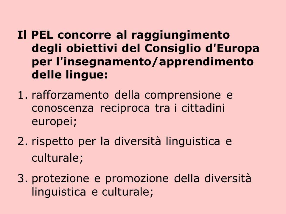 Il PEL concorre al raggiungimento degli obiettivi del Consiglio d Europa per l insegnamento/apprendimento delle lingue: