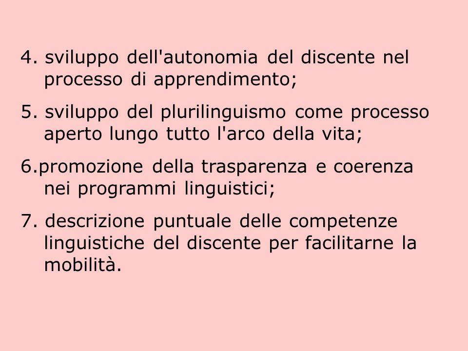 4. sviluppo dell autonomia del discente nel processo di apprendimento;