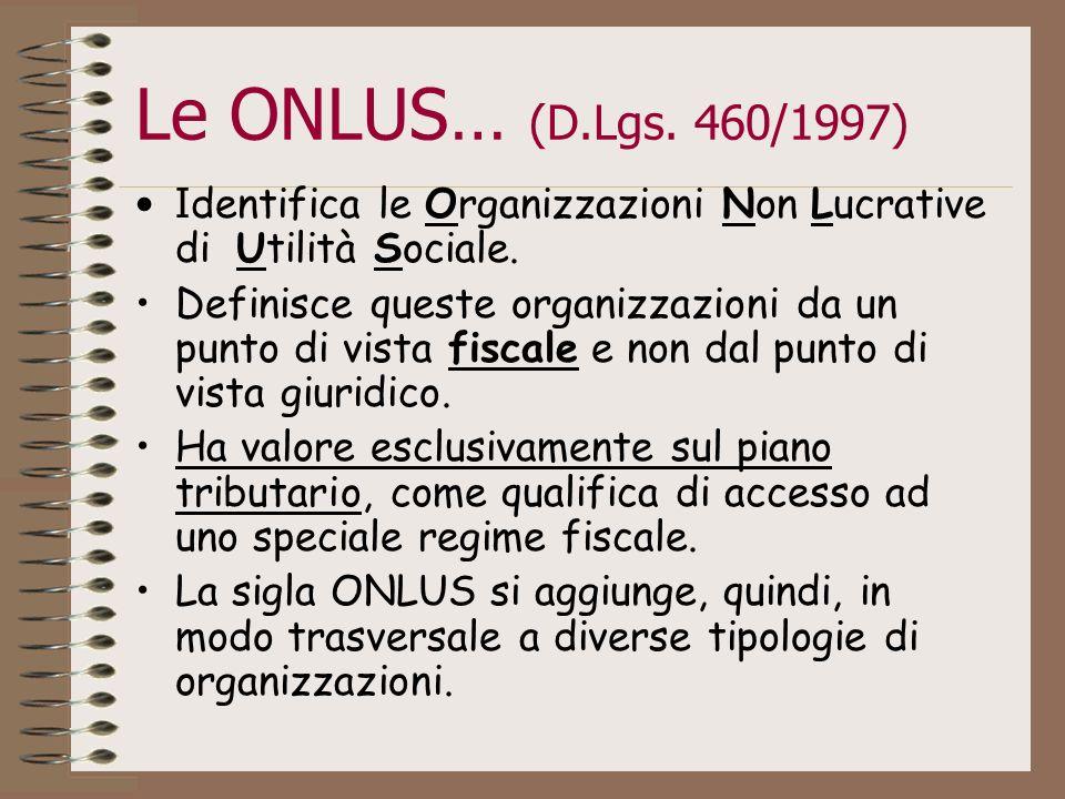 Le ONLUS… (D.Lgs. 460/1997) Identifica le Organizzazioni Non Lucrative di Utilità Sociale.
