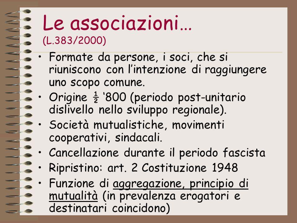 Le associazioni… (L.383/2000) Formate da persone, i soci, che si riuniscono con l'intenzione di raggiungere uno scopo comune.