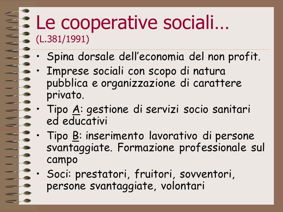 Le cooperative sociali… (L.381/1991)