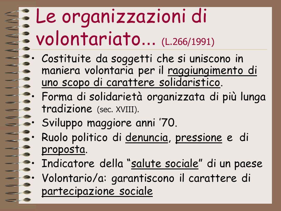Le organizzazioni di volontariato… (L.266/1991)