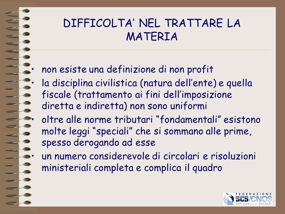 DIFFICOLTA' NEL TRATTARE LA MATERIA