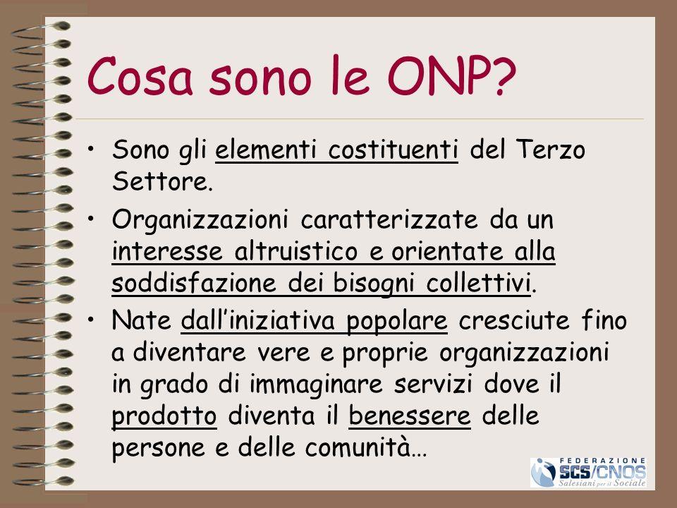 Cosa sono le ONP Sono gli elementi costituenti del Terzo Settore.