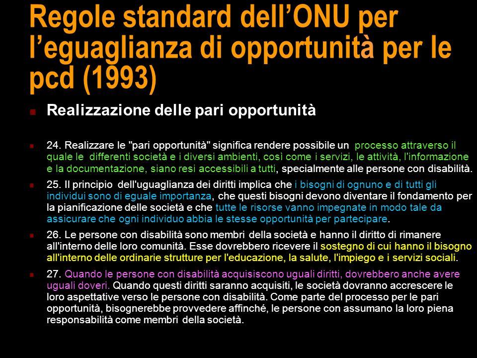 Regole standard dell'ONU per l'eguaglianza di opportunità per le pcd (1993)