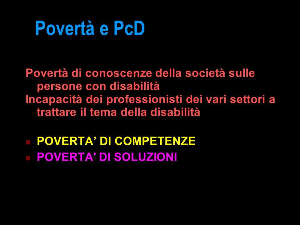 Povertà e PcD Povertà di conoscenze della società sulle persone con disabilità.