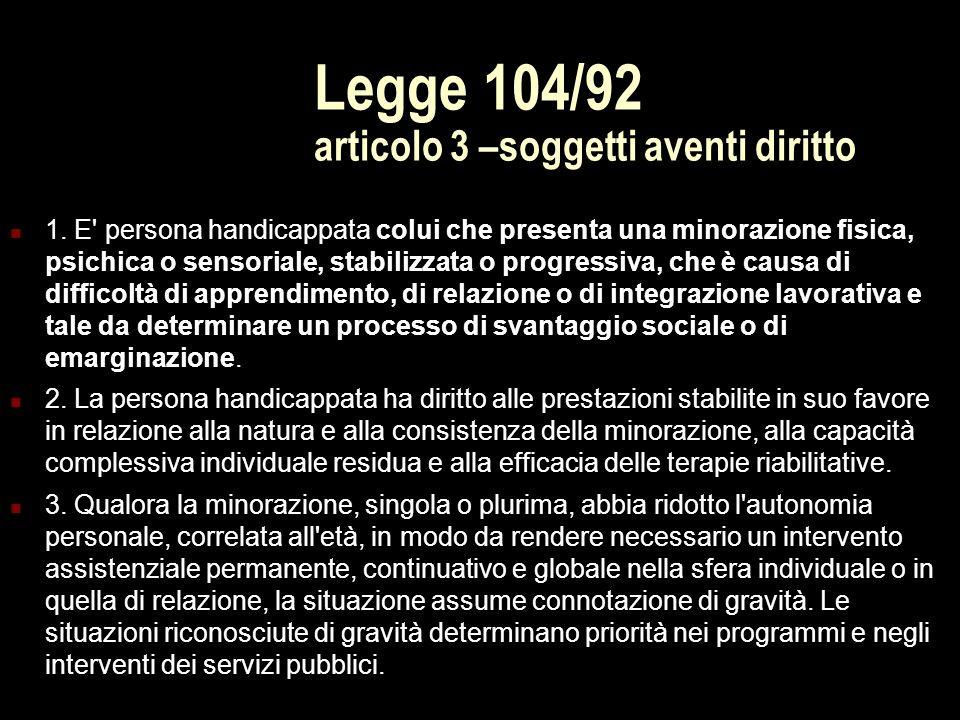 Legge 104/92 articolo 3 –soggetti aventi diritto