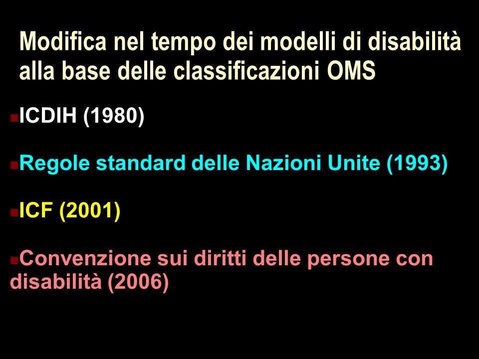 Modifica nel tempo dei modelli di disabilità alla base delle classificazioni OMS