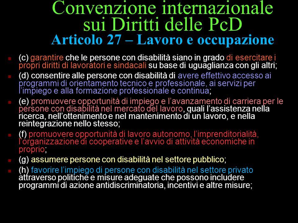 Convenzione internazionale sui Diritti delle PcD Articolo 27 – Lavoro e occupazione