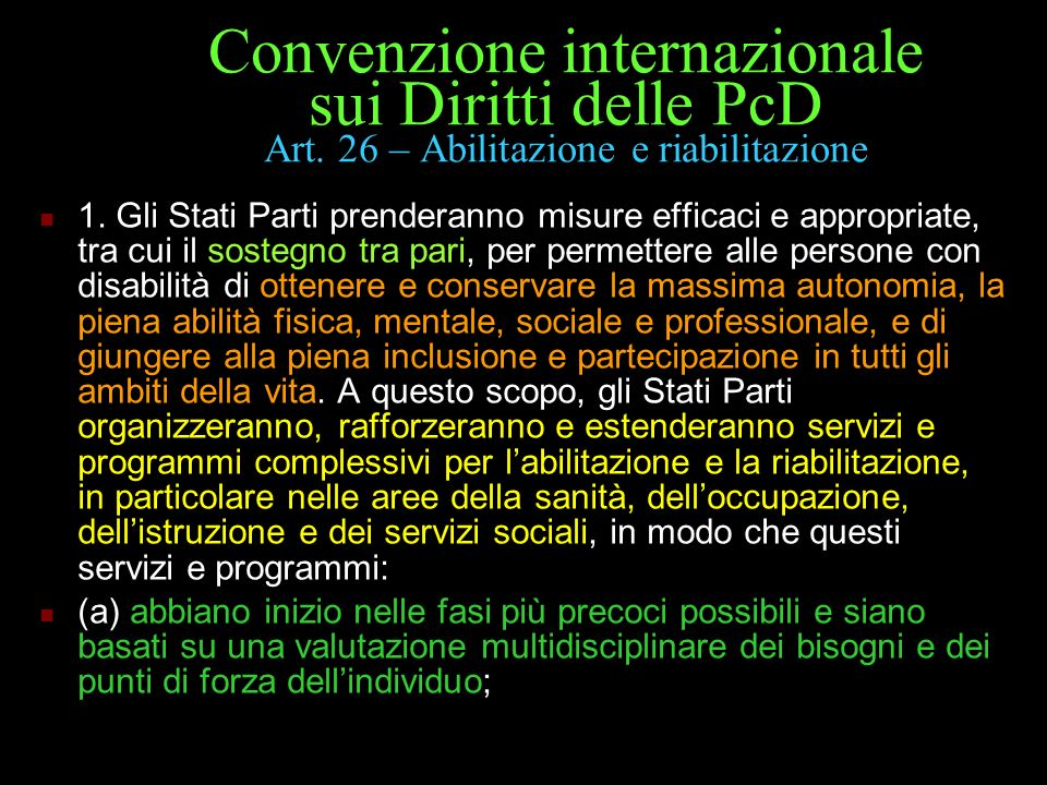 Convenzione internazionale sui Diritti delle PcD Art