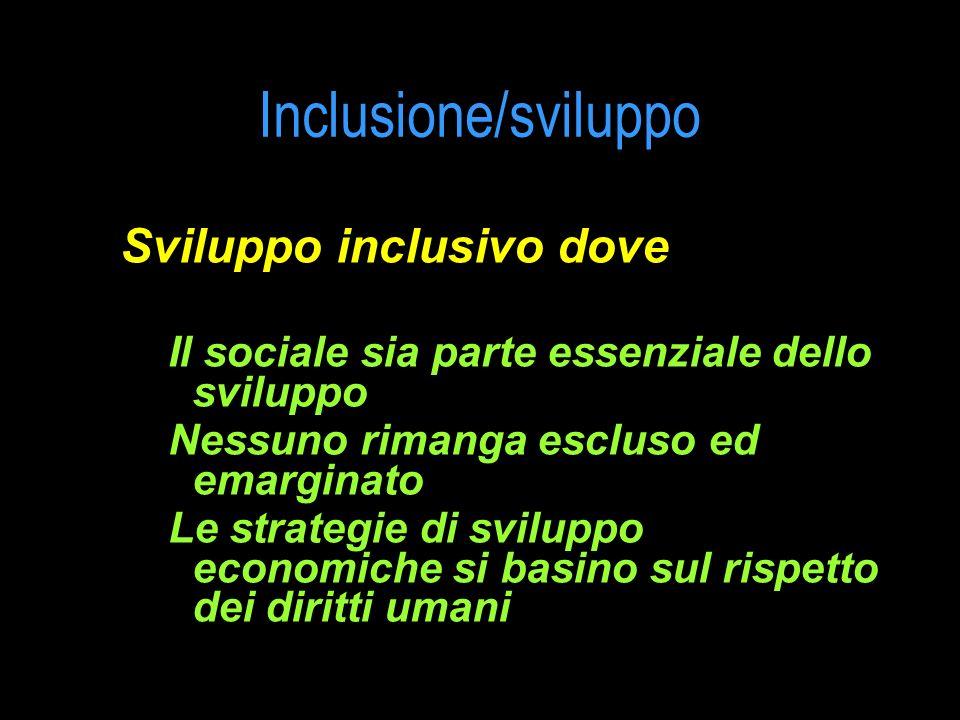 Inclusione/sviluppo Sviluppo inclusivo dove