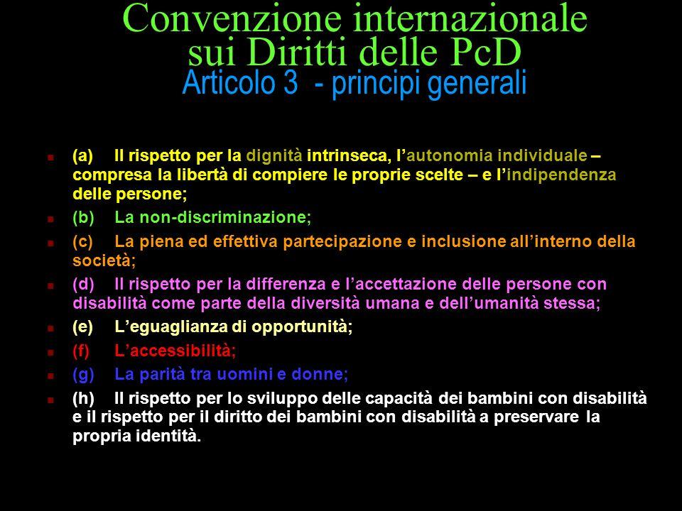 Convenzione internazionale sui Diritti delle PcD Articolo 3 - principi generali