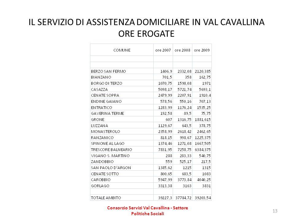 IL SERVIZIO DI ASSISTENZA DOMICILIARE IN VAL CAVALLINA ORE EROGATE
