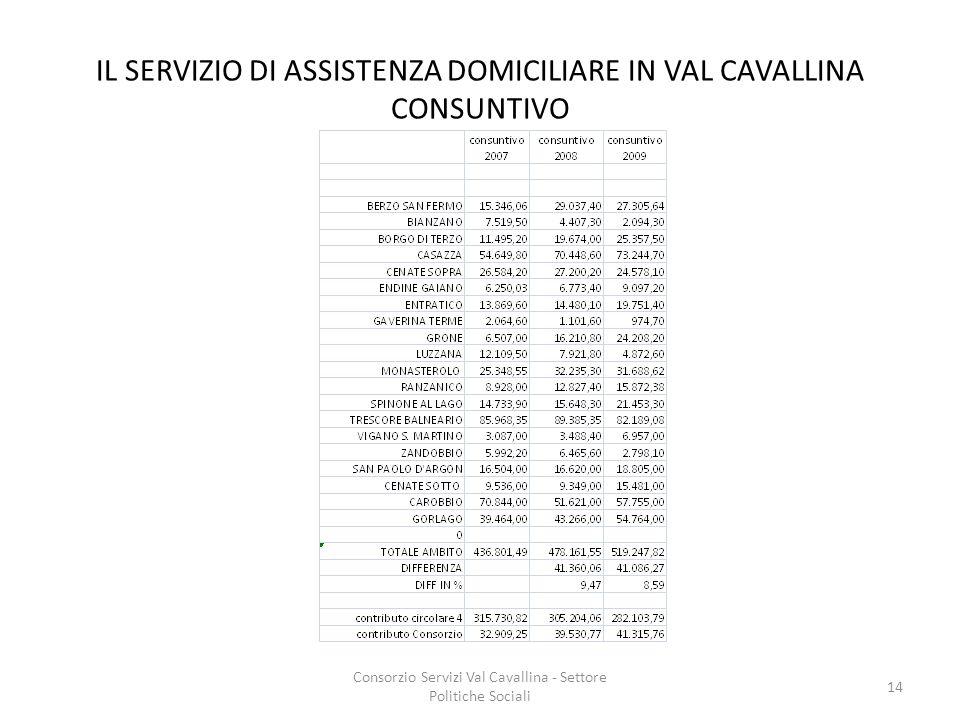 IL SERVIZIO DI ASSISTENZA DOMICILIARE IN VAL CAVALLINA CONSUNTIVO