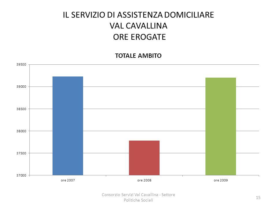 IL SERVIZIO DI ASSISTENZA DOMICILIARE VAL CAVALLINA ORE EROGATE