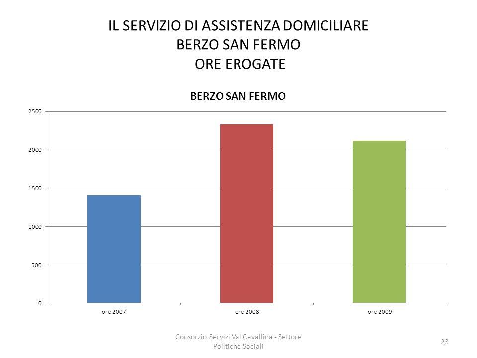 IL SERVIZIO DI ASSISTENZA DOMICILIARE BERZO SAN FERMO ORE EROGATE