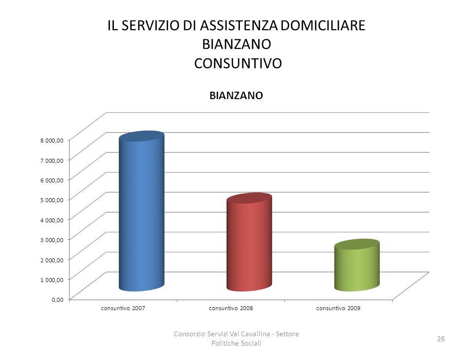 IL SERVIZIO DI ASSISTENZA DOMICILIARE BIANZANO CONSUNTIVO