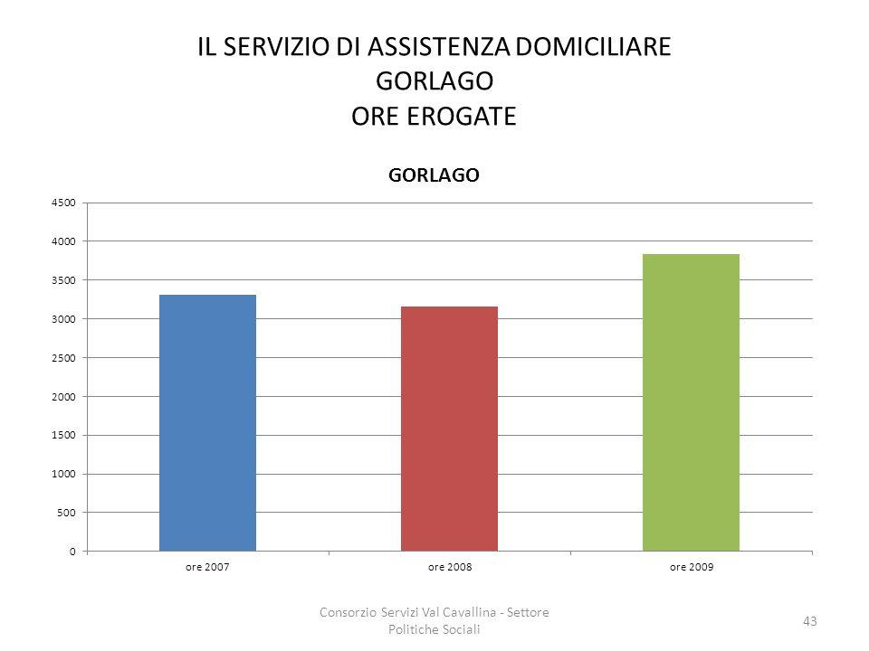 IL SERVIZIO DI ASSISTENZA DOMICILIARE GORLAGO ORE EROGATE
