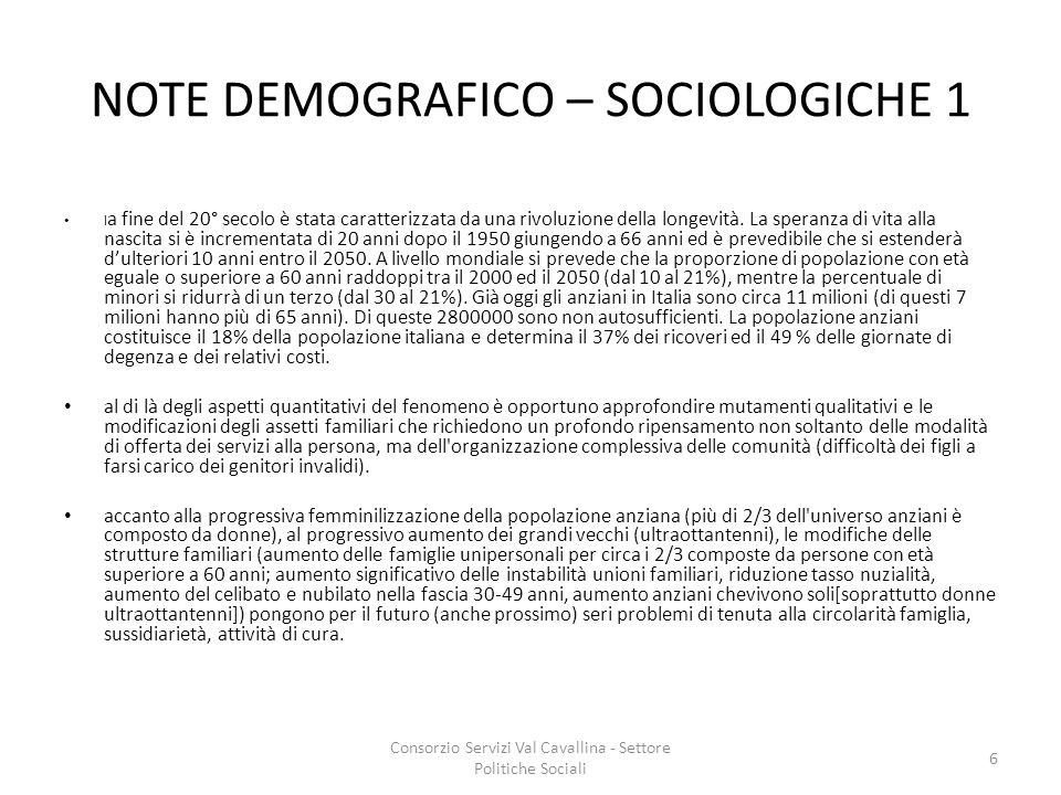 NOTE DEMOGRAFICO – SOCIOLOGICHE 1
