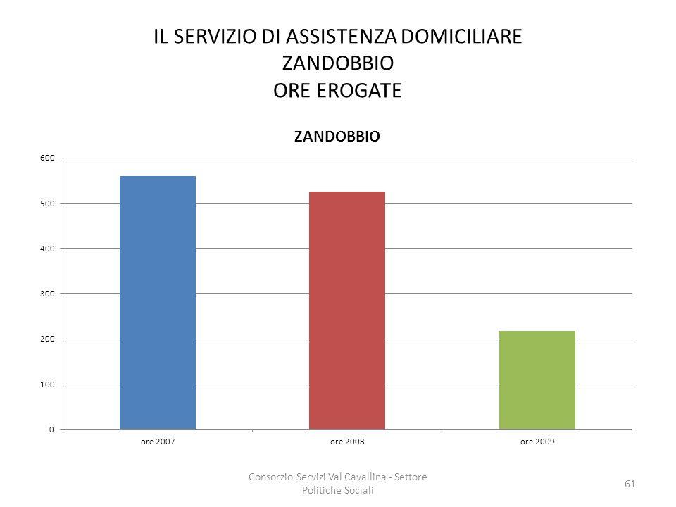 IL SERVIZIO DI ASSISTENZA DOMICILIARE ZANDOBBIO ORE EROGATE