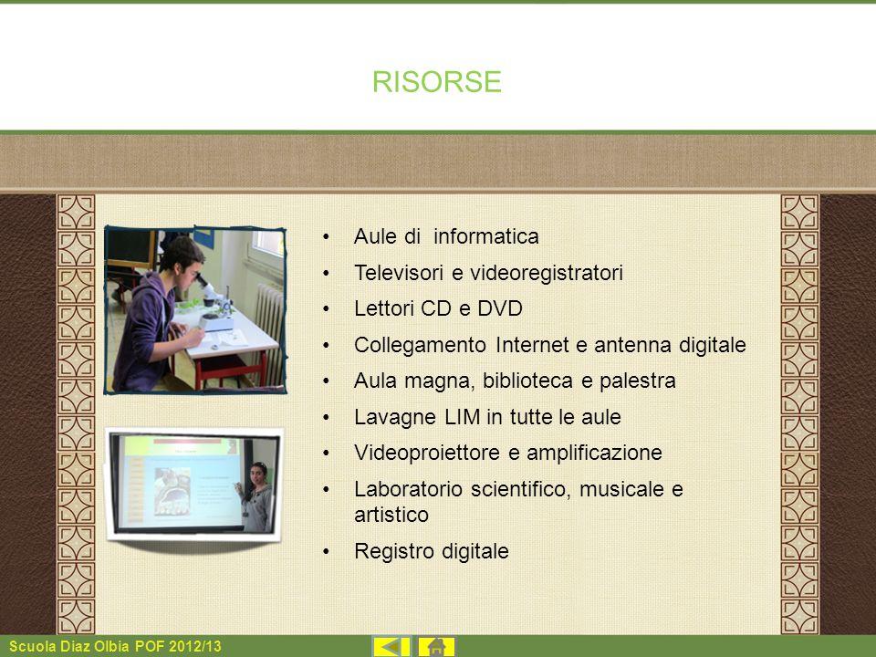RISORSE Aule di informatica Televisori e videoregistratori