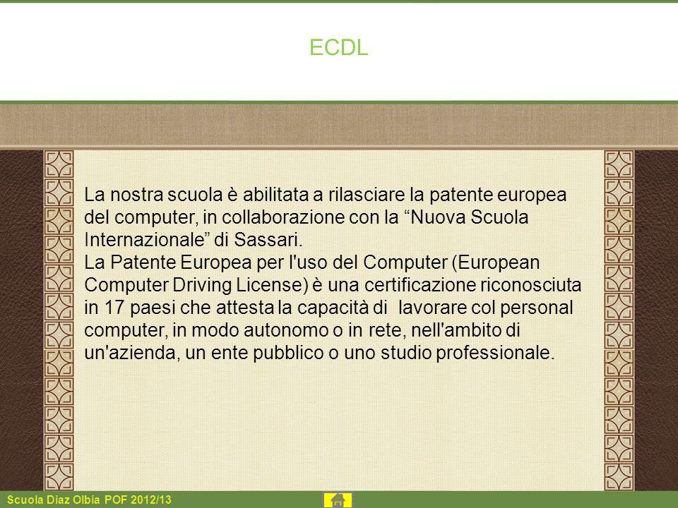 ECDL La nostra scuola è abilitata a rilasciare la patente europea del computer, in collaborazione con la Nuova Scuola Internazionale di Sassari.