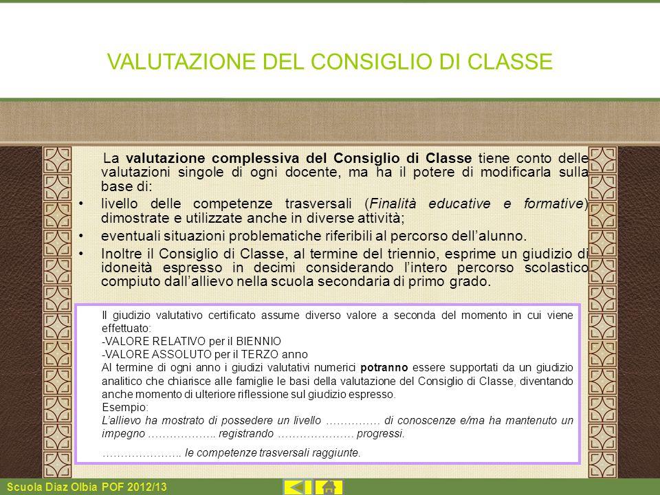 VALUTAZIONE DEL CONSIGLIO DI CLASSE