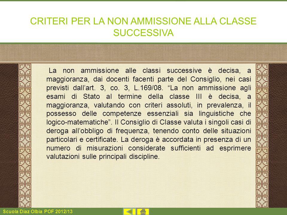 CRITERI PER LA NON AMMISSIONE ALLA CLASSE SUCCESSIVA