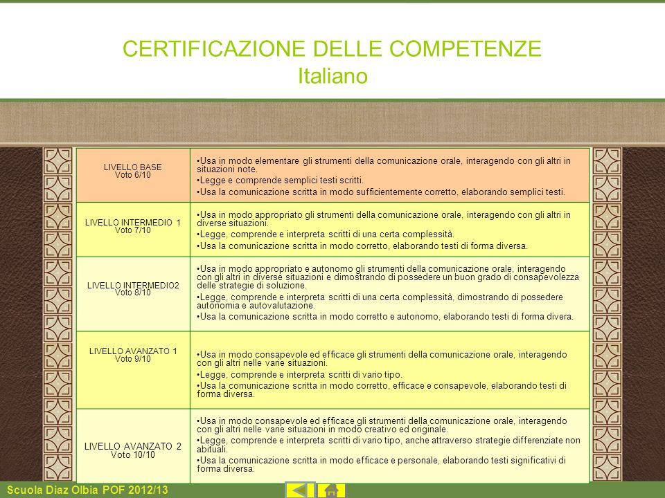 CERTIFICAZIONE DELLE COMPETENZE Italiano