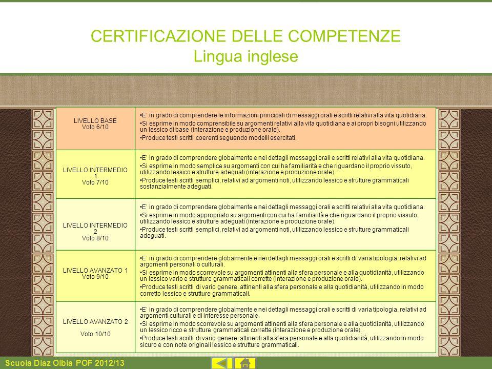 CERTIFICAZIONE DELLE COMPETENZE Lingua inglese