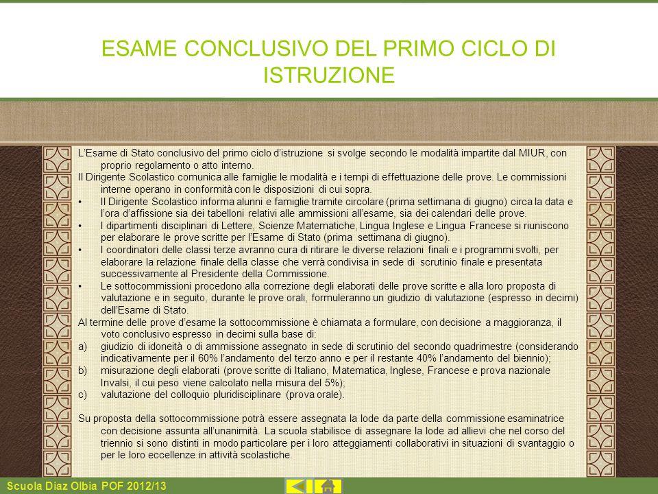 ESAME CONCLUSIVO DEL PRIMO CICLO DI ISTRUZIONE