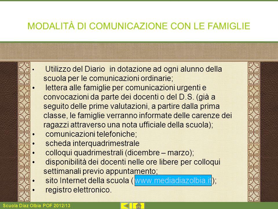 MODALITÀ DI COMUNICAZIONE CON LE FAMIGLIE